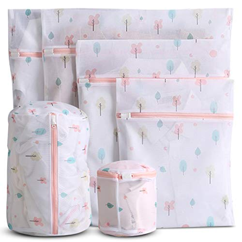 WestonBasics 6 Pcs Mesh Laundry Bags for Delicates with Cute Prints Travel Storage Organizer Pack Garment Washing Bags for Clothes Bras Underwear Socks Lingerie PINK FLORAL