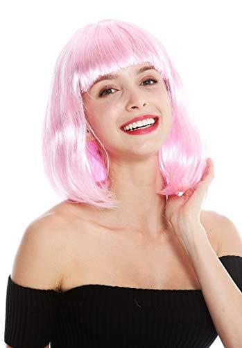 WIG ME UP - 0073-3-PC28 Perruque Dame Carnaval Hauteur d'épaules carré Long carré Lisse Frange Rose Clair