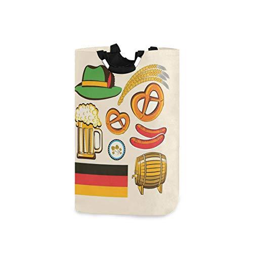 LOSNINA Wäschesammler Wäschekorb Faltbarer Aufbewahrungskorb,Oktoberfest Symbole Weizenwurst Bier und Brezeln Bunte bayerische Anordnung,Wäschesack - Wäschekörbe - Laundry Baskets