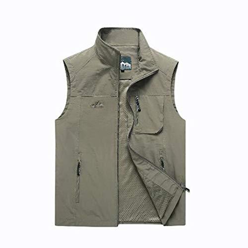 Yiyu Freizeitweste Herren Sommer Dünne Mehrfachtasche Einfarbig Ärmellose Jacke Herren Extra-Schnell Trocknende Weste Westen x (Color : Gray, Size : L)