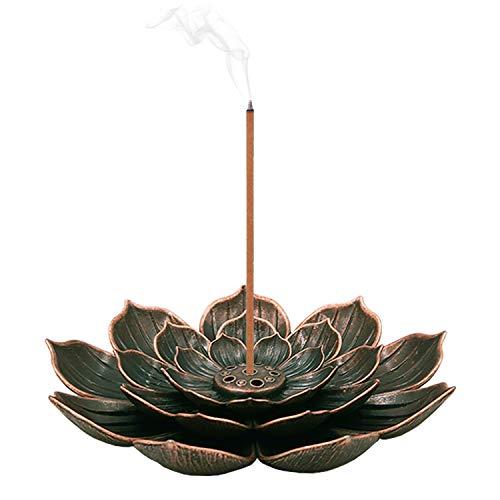 SLKIJDHFB Lotus Incense Holder Brass Stick Incense Holder Cone Coil Incense Burner with Detachable Ash Catcher for Home Office Yoga Meditation