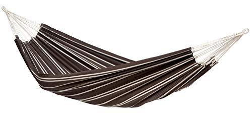 AMAZONAS Brasilianische Hängematte XL Barbados Mocca für Mehrpersonen bis 200kg, 230 x 150cm braun-weiß gestreift