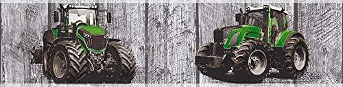 A.S. Création Bordüre Little Stars Borte in Holz Optik mit Traktoren 5,00 m x 0,13 m grau grün Made in Germany 358431 35843-1