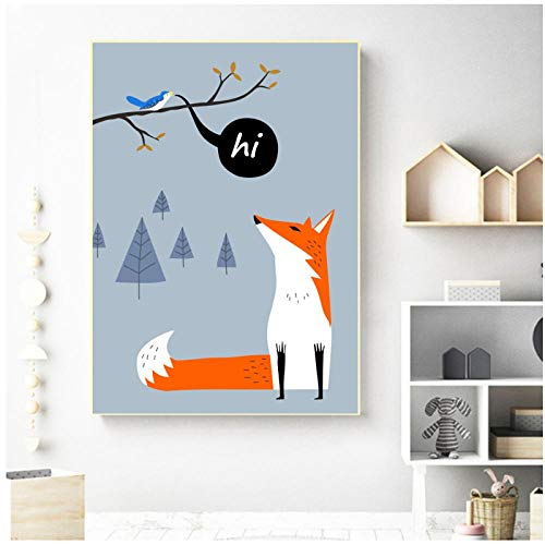 Baby Fox Vogelvoeder Muurschildering Canvas Schilderij Cartoon Nordic Posters en Prints Animal Wall Pictures Meisje Jongen Kids Kamer Decor -50x70cm(geen Frame)
