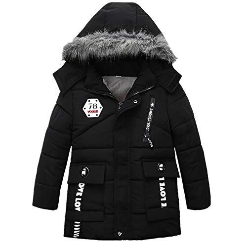 VENMO Mode Kinder Mantel Mädchen Dicke Kleidung Gepolsterte Winterjacke Daunenjacke Jungen Jacke Daunenjacken mit Kapuze Ultraleichte Wattierte Steppjacke Strickjacke Daunenmantel (4T, Black)