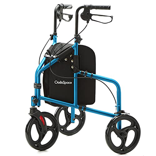 OasisSpace 3 Wheel Walker for Seniors - Lightweight and Foldable Three Wheel Rollator Walker with Height Adjustable Handles