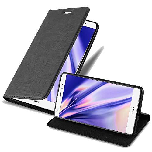 Cadorabo Hülle für Huawei Mate S - Hülle in Nacht SCHWARZ – Handyhülle mit Magnetverschluss, Standfunktion & Kartenfach - Case Cover Schutzhülle Etui Tasche Book Klapp Style