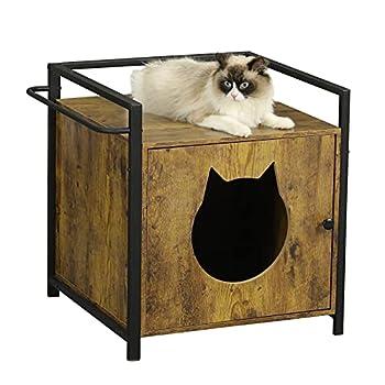 MSmask Maison pour Chat ou litière pour Chat, Grande Maison pour Chat, bac à litière caché, Armoire de Rangement (Marron)
