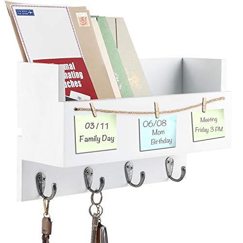 Vencipo Wandregal Holz für Schlüsselbrett Organizer mit 4 Metall Haken, Bücherregal Holz für Wanddeko Kinderzimmer, Weiß Wand-Garderobe für Wohnzimmer Aufbewahrung von Schlüsseln, Briefen, Prospekten.
