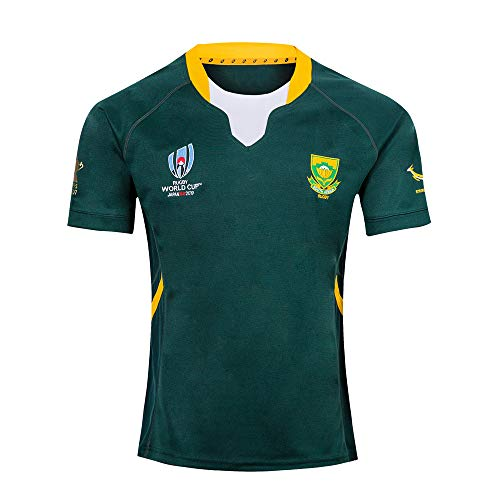 LQsy Maglia da Rugby da Uomo Training Allenamento da Competizione, Costume da Fan del Sudore Traspirante, T-Shirt da Tifoso Sudafricano