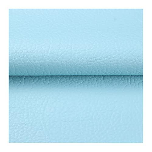 ZHJBD Morbida Pelle Sintetica PU Finta Pelle Tessuto per Tappezzeria Perfetto per Vestire, Cucire, Creare Progetti Fai da Te(Azzurro)(Size:10 x 1.38m)