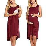 Unibelle Damen Umstandskleid Umstandsmoden Schwangerschaftskleider Maternity Kleid Sommer Kleid Stillkleid Stillnachthmd Ärmellos Wein Rot XXL