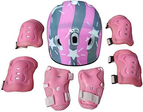 7pcs / Set Niños del Patinaje sobre Ruedas Protectores Casco monopatín Codo Muñeca Protectores (Tipo Mariposa) Rosa JXNB