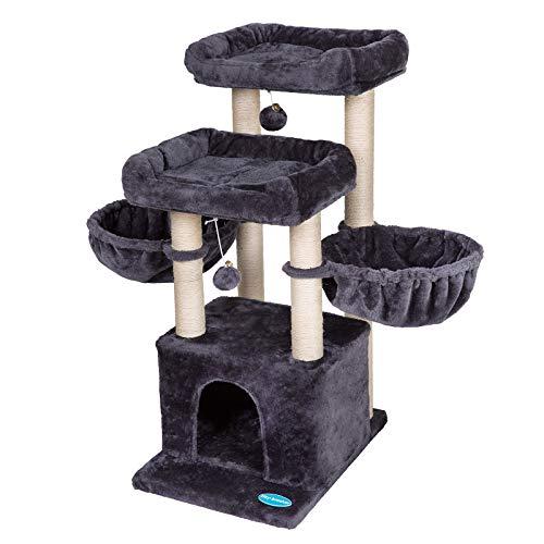 Hey-brother Katzenklettergerüst, Katzenklettergestell Katzenbaum, 2 geräumige Bequeme Ruheplattformen, 2 geräumige Katzenhängematten/Nester Rauchgrau 96cm MPJ006G
