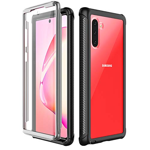 SPIDERCASE Galaxy Note 10 Case, Built-in Screen Protector, Fingerprint Unlock with Fingerprint Film, Clear Full Body Heavy Duty Protection, Shockproof Rugged Cover for Samsung Galaxy Note 10 (5G) 2019