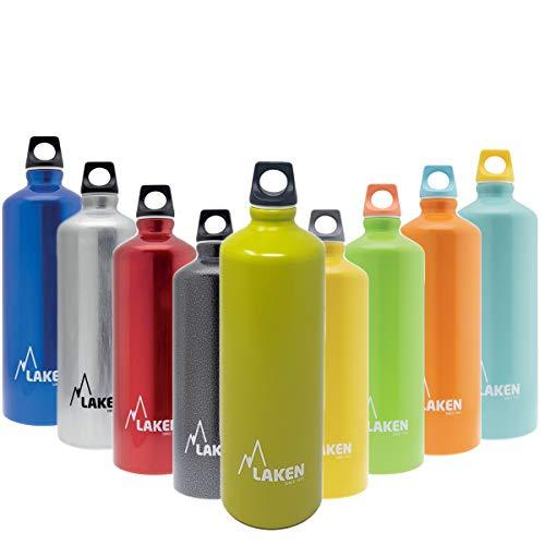 Laken Futura Borraccia Bottiglia d'acqua con Apertura Stretta e Tappo a Vite con Anello 1 Litro Verde Opaco