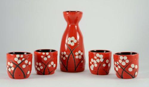 Lam Tat Arts 5 Pieza Cerezo en Flor Sake Juego - Rojo