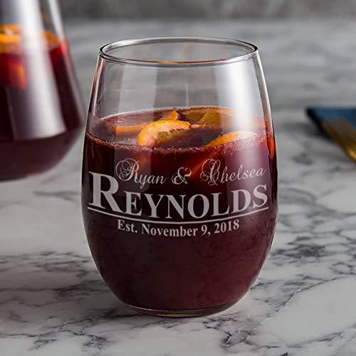 Personalized Wedding Wine Glass, 21 oz Stemless Wine Glass, Couples Gifts, Wedding Glasses, Custom Anniversary Gift, Wedding Shower Gift
