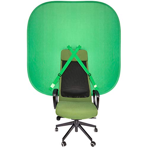 Silla portátil con fondo de pantalla verde – Fondo emergente para webcam video streaming Gaming – Kit de teclas cromas plegables de 148 cm para YouTube Twitch y Zoom