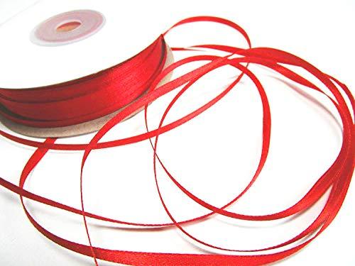 CaPiSo® 100m Satinband 3mm Schleifenband,Geschenkband,Dekoband,Satin Hochzeit,Weihnachten (Rot, 100m 3mm)