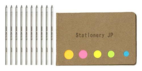 Zebra Ballpoint Pen Refills for T-3 Techo Ball Point Pens & SL-F1 Telescopic Ball Point Pens, Fine Point 0.7mm, Black Ink, 10-Pack, Sticky Notes Value Set