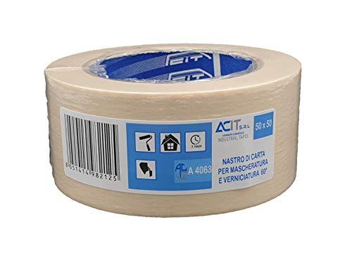 ACIT Nastro di carta per mascheratura, verniciatura, 50m x 50mm, confezione singola, Bianco