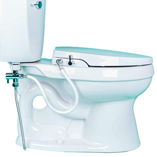 GenieBidet [ELONGATED] Seat-Self Cleaning Dual Nozzles. Rear & Feminine Cleaning - No wiring required. Simple 20-45 minute installation or less. Hybrid T with ON/OFF Included! [Travel Bidet Included]