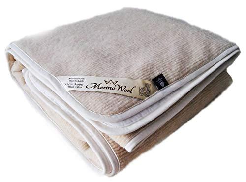 Merino Wool PEROTTON Bedding, natuurlijke beddengoed wol matras topper fleece sheet natuurlijke product, wol onderdeken hoekbanden WOOLMARKED 120 x 190 cm Beige