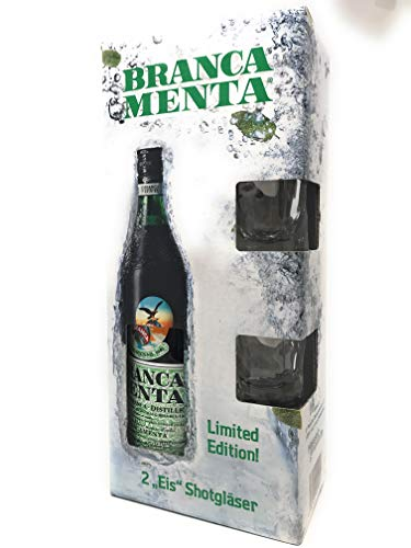 Branca Menta Geschenkset mit 2 Eis Shot-Gläsern, italienischer Bitter mit Minze 0.7 Ltr.
