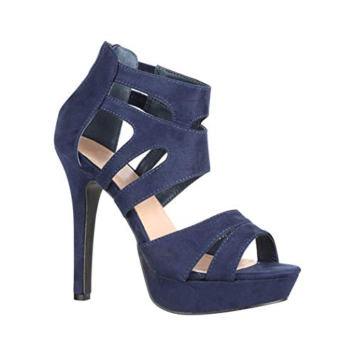 Elara Damen Pumps offen Stilettos High Heels chunkyrayan LL85 Navy-37