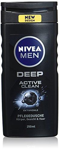 NIVEA MEN DEEP Active Clean Pflegedusche mit Aktivkohle im 6er Pack (6 x 250 ml), erfrischendes Duschgel mit maskulinem Duft reinigt effektiv Körper, Gesicht und Haar