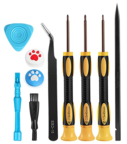 Screwdriver Kit for Nintendo Switch – 10 in 1 PRO S2 Steel Triwing Y00 Repair Tool Set with Thumb Caps, Tweezers, Cleaning Brush, Opening Accessories for Switch/Switch Lite JoyCon Joy-Con Controller