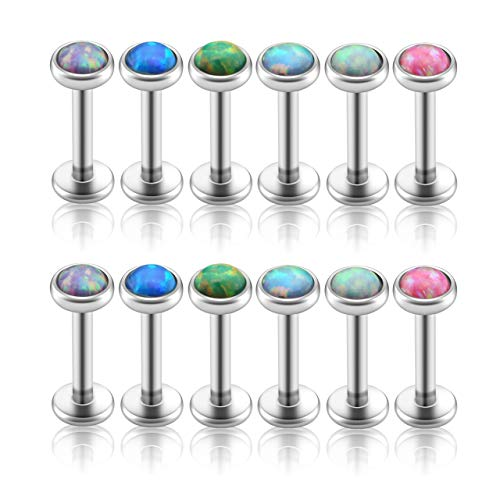 Jovivi 12pcs 16G Stainless Steel Created-Opal Monroe Labret Rings Lip Stud Tragus Cartilage Piercing Jewelry 8mm for Men Women
