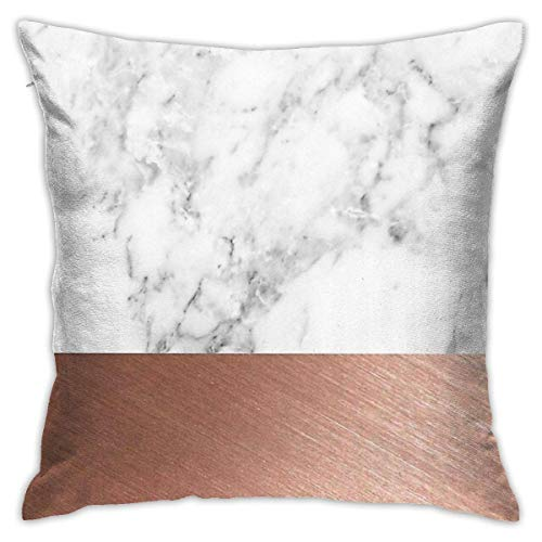 Ahdyr Rose Gold Marble Cushion Throw Pillow Cover Decorative Pillow Case For Sofa Bedroom 18 X 18 Inch