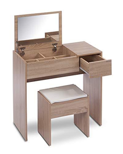 ts-ideen Schminktisch Frisiertisch Frisierkommode Schminkkommode Schlafzimmer Kommode mit aufklappbarem Spiegel, Schublade und gepolstertem Hocker in Sonoma Eiche Modern