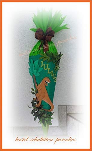 Schultüten Bastelset Dino Rex grün mit Blättern