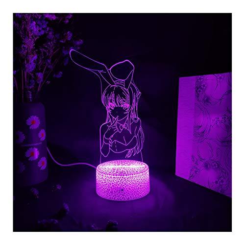 3d Lampe Anime Waifu Mai Sakurajima Led Nachtlicht Für Schlafzimmer Dekor Mai Licht Geschenk Für Freund Sakurajima Bunny Girl Led Lampe Anime Geschenk (16 Farben mit Fernbedie-A1)