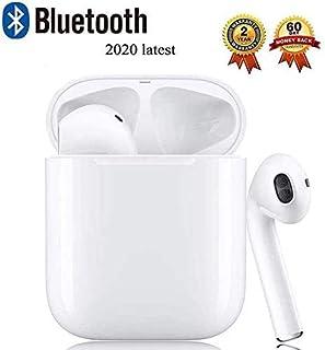 Auriculares Bluetooth 5.0 Auriculares Inalambricos Cascos Bluetooth Headphone Deportivos con Mic y Cancelación de Ruido Caja de Carga - compatibles con TV, Smartphone, Tablets (Blanco)