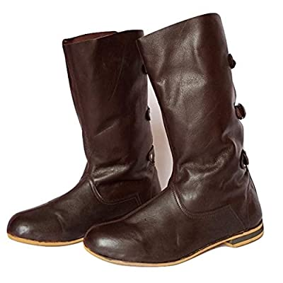 AnNafi Medieval Brown Leather Boots 3 Buckle | Renaissance Inspired Loafer Boot | Halloween Caribbean Pirate Costume Boots | Re-Enactment Viking Mens Shoes| SCA LARP Riding Costume Boot for Cosplay | Long Boots (numeric_8) by