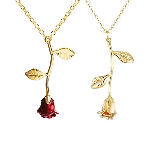 Long tiantian 2Pcs Romantic 3D Rose Flower Pendant Necklace for Women Plant Double Leaf Jewelry