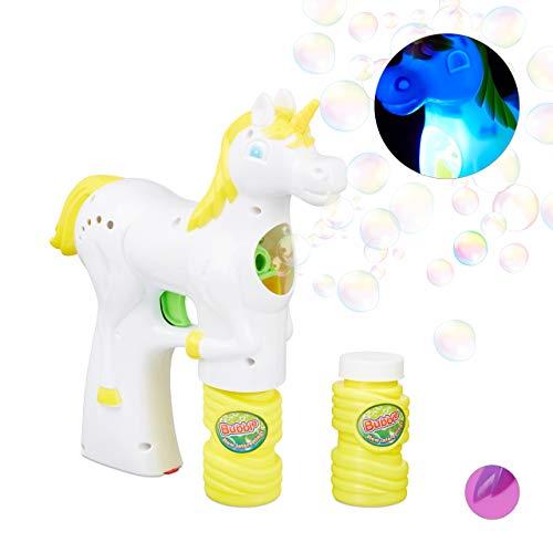 Relaxdays- Pistola Pompas Unicornio con LED y 2 Botes de Jabón, Plástico, Blanco, 25 x 6 x 17 cm, Color (10024934_49) , color/modelo surtido
