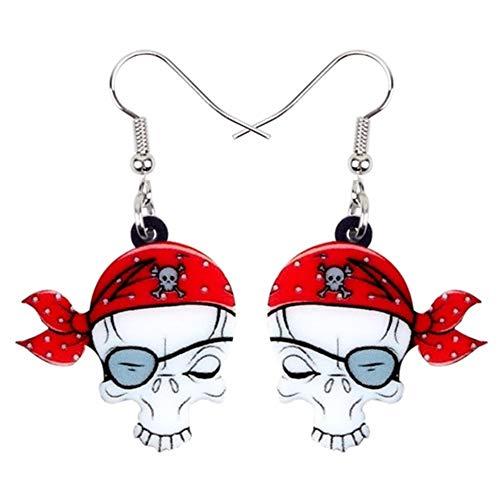 JIAHUI acrílico máscara de ojos de Halloween pirata cráneo pendientes gota cuelgan lindo moda punk joyería para mujeres niñas regalo Dropship