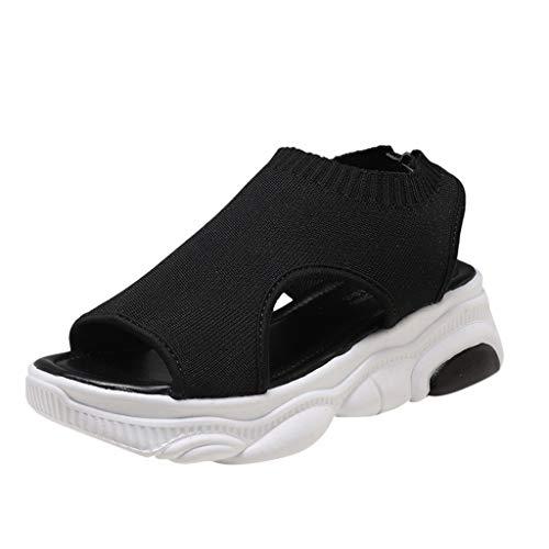 Zarupeng Dames zomer sandalen platform gymschoenen knit-sokken vis-mond-vlakke sportschoenen lichte ademende vrijetijdsschoenen