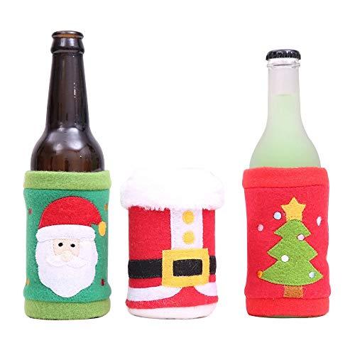 Gleisnut. Die neuen Weihnachten dekorative Elemente ziehen Flanell Sätze von Flaschen Cola Limo-Flasche Sets Flasche setzt Schutzschale Dreiteilige (Color : Three-piece suit, Size : 9.5 * 11cm)