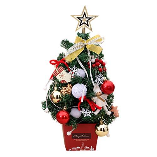 Zuhause Weihnachtsdeko Weihnachtsbaum mit Beleuchtung Funkelnde Anhänger Festliche Büros Klassenzimmer Tischdeko Tannenbaum Mini-LED- Stimmungslicht Weihnachtsschmuck Fotografie Requisiten (Gold)