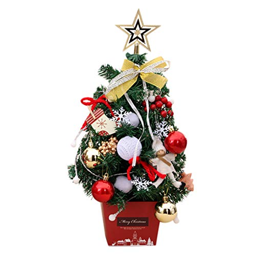 Iusun LED Artificial Christmas Tree Festival Miniature Tree Tabletop Decoration Bedroom Desk Ornament Bonsai for Home Office Supplies Gift (Gold)