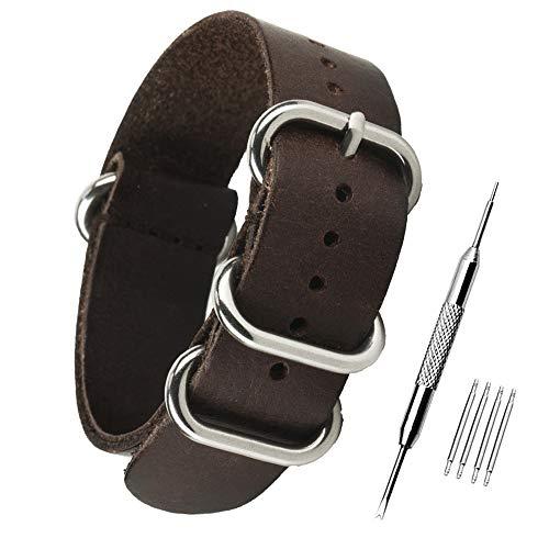 ZHUGE Unisex Cinturino cinturino in pelle vintage Cinturini di Ricambio Cinturino in pelle 18MM Marrone