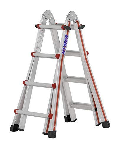 Hymer Teleskopleiter 4x4 Stufen (max. Höhe 3 Meter als Anlegeleiter, für Treppenstellung geeignet) 404216