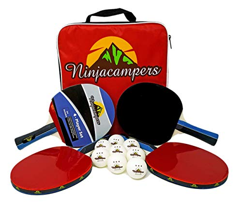 Buy Cheap NinjaCampers Ping Pong Paddle Set of 4| Includes Portable Storage Case| 4 Odorless Paddles...