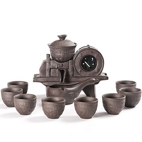 Tauzveok Juego de té automático de Arena púrpura Vintage Chino Anti-dispersión y Sake portátil Conjunto Familia y Amigos,Purple Sand